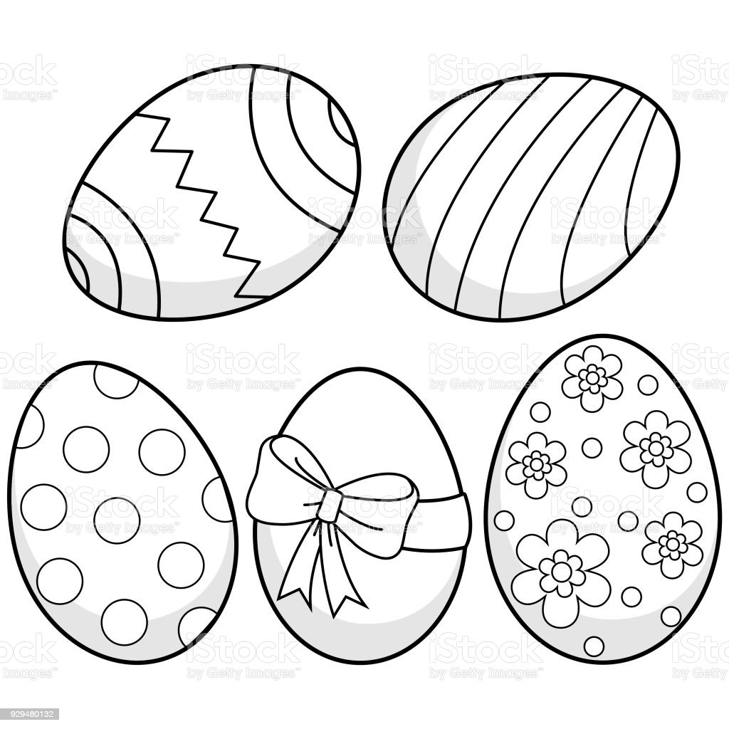 Easter eggs. Black and white coloring book page vector art illustration