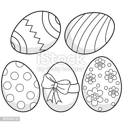 Ilustración de Huevos De Pascua Blanco Y Negro Para Colorear Página ...