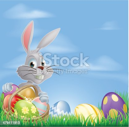 White Easter bunny rabbit with a basket of chocolate Easter eggs