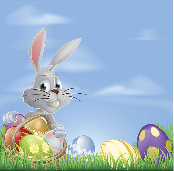 Easter eggs bunny in field White Easter bunny rabbit with a basket of chocolate Easter eggs animal stage stock illustrations