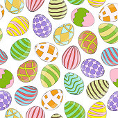 Easter eggs colorful seamless pattern. Vector illustration. Background color can be changed. All elements can be edited. Clipping mask is used. EPS10