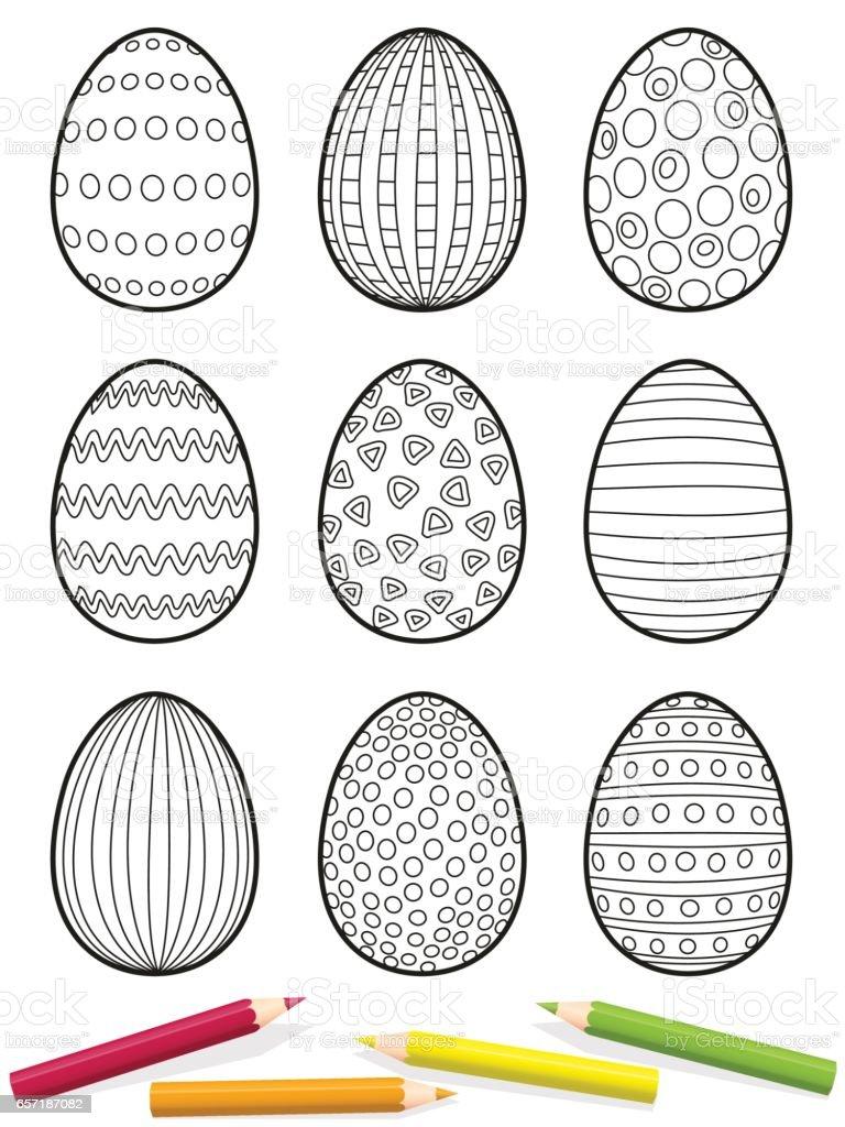 Ostereier Malvorlagen Neun Eiern Mit Verschiedenen Mustern Zu