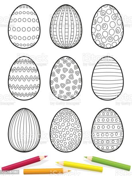 ostereier malvorlagen neun eiern mit verschiedenen mustern