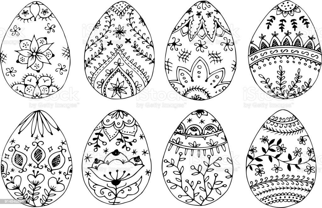 Easter Eggs Coloring Page Stock Vector Art & More Images of Art - iStock