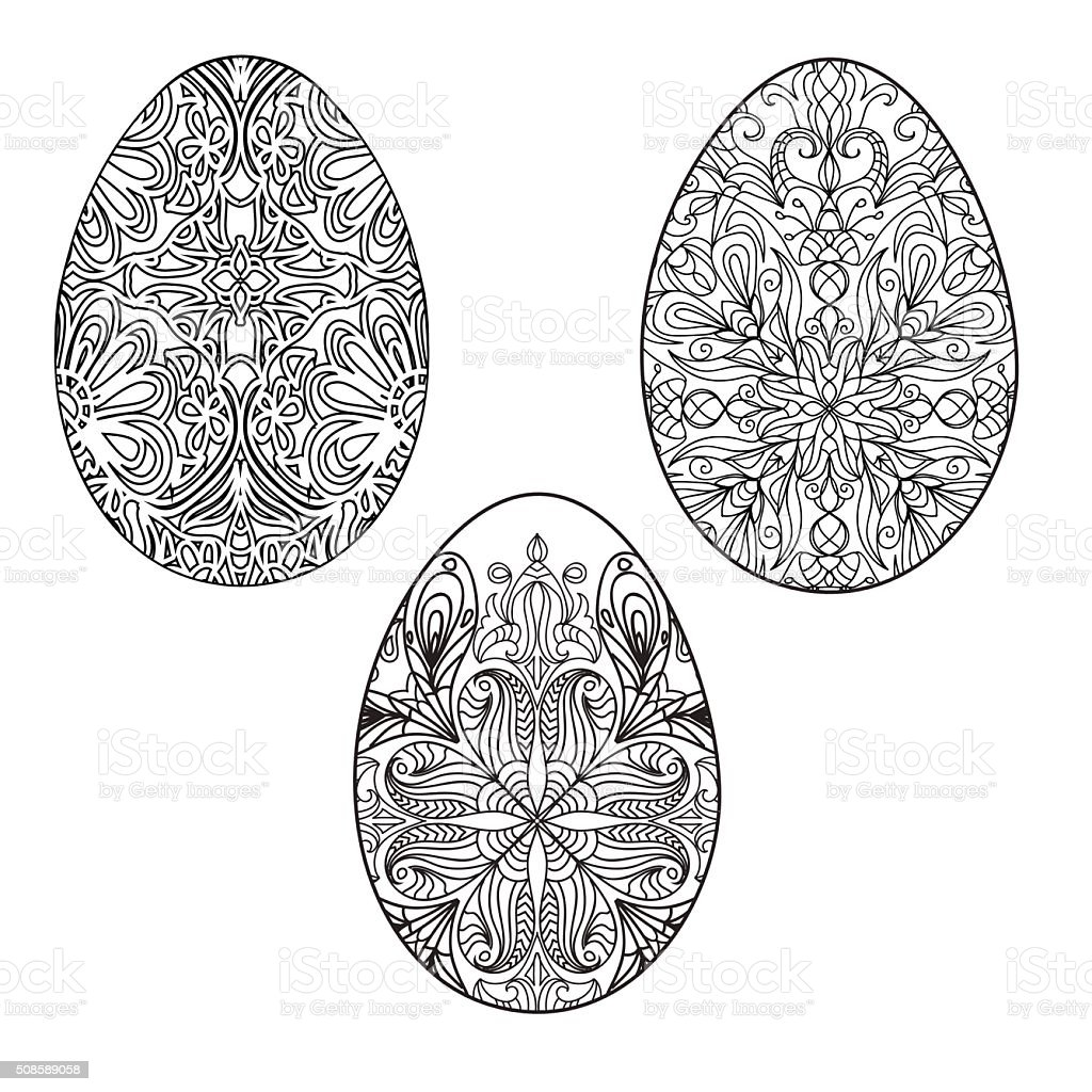 Easter Eggs Coloring Pages Set Stock Vector Art & More Images of ...
