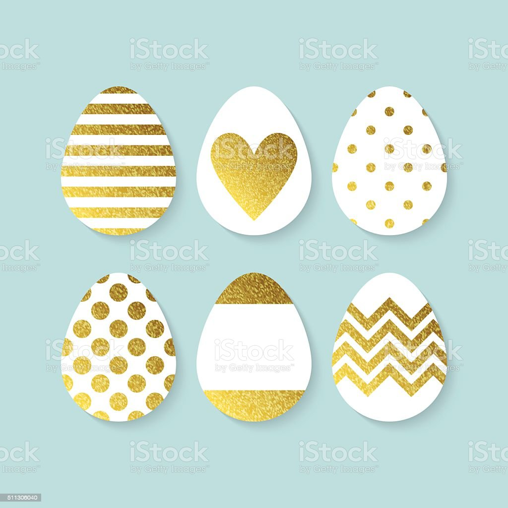 Easter eggs decoration with gold. Isolated vector illustration vector art illustration