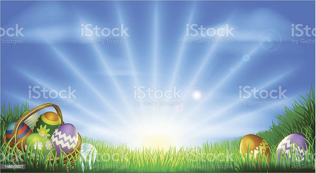 Easter eggs field background vector art illustration