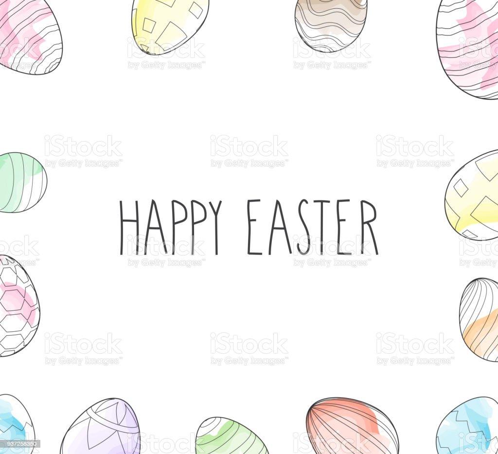Ostern Eiern Rahmen Aquarell Symbole Auf Weißem Hintergrund ...