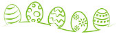 Easter eggs green outline drawing