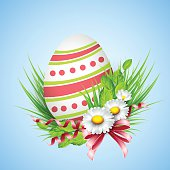 Easter eggs greeting card with spring flowers. Vector illustration