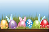 Easter Eggs hunt flowers grass hidden bunnies blue sky symbol background
