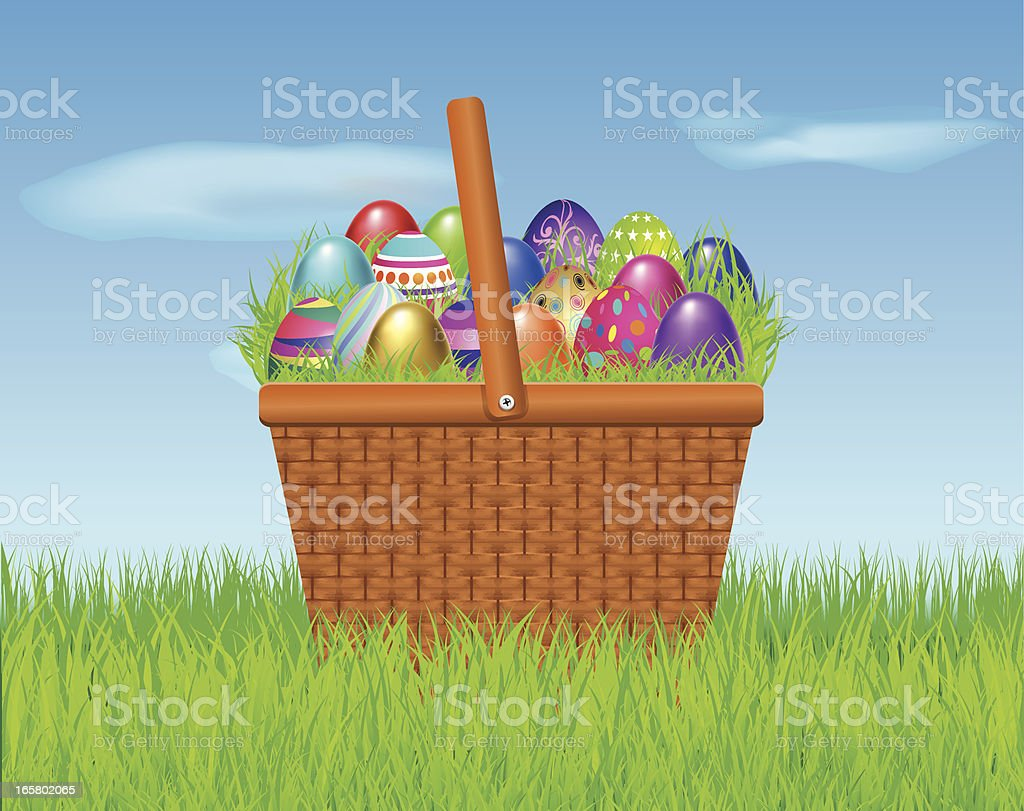Easter Eggs in a Basket royalty-free stock vector art