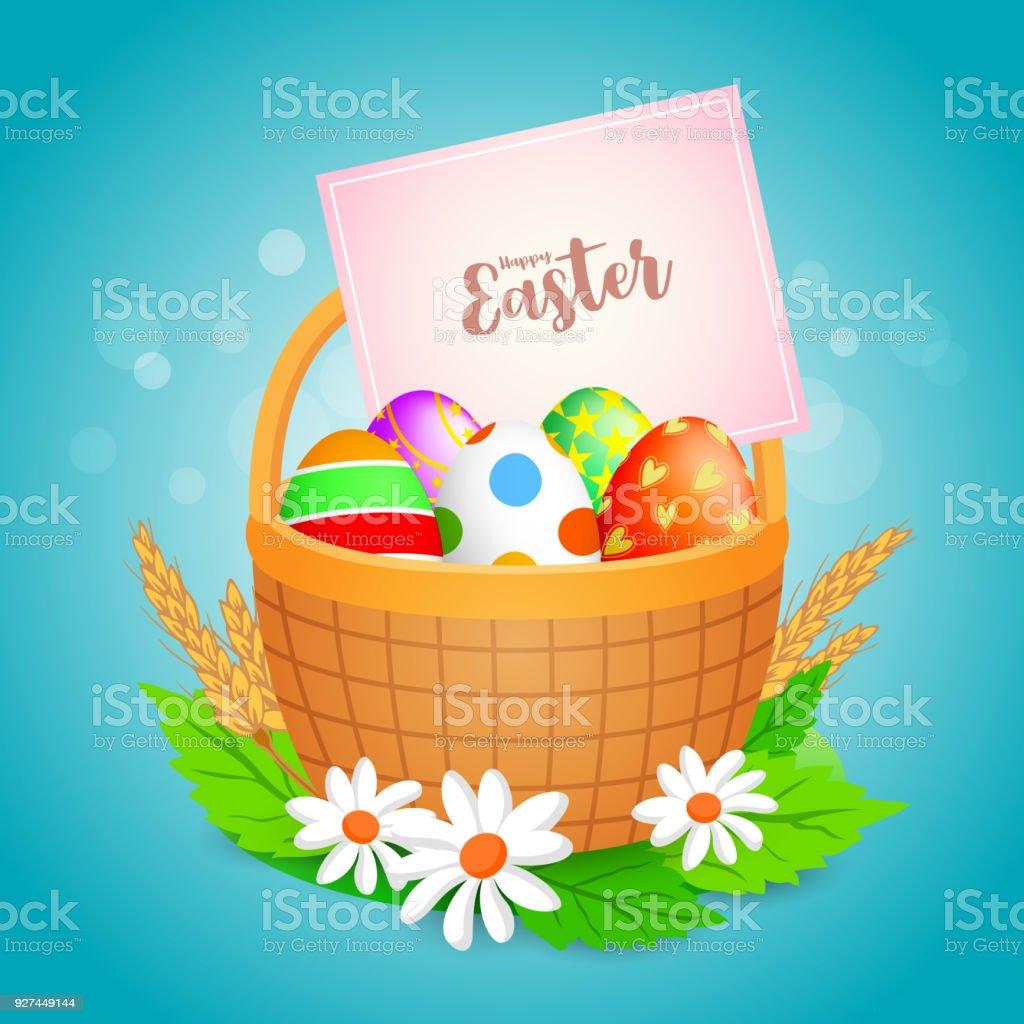 Easter eggs in a basket. vector art illustration