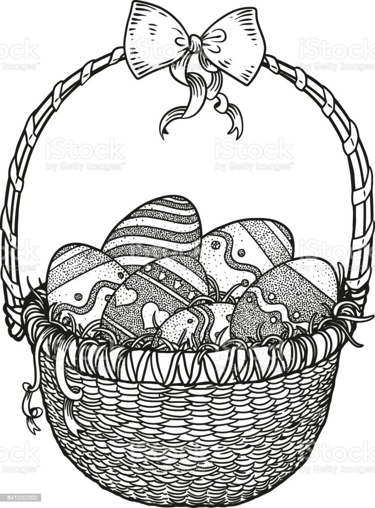 Easter Eggs In A Basket With Ribbon Illustration Drawing Engraving Royalty Free Easter