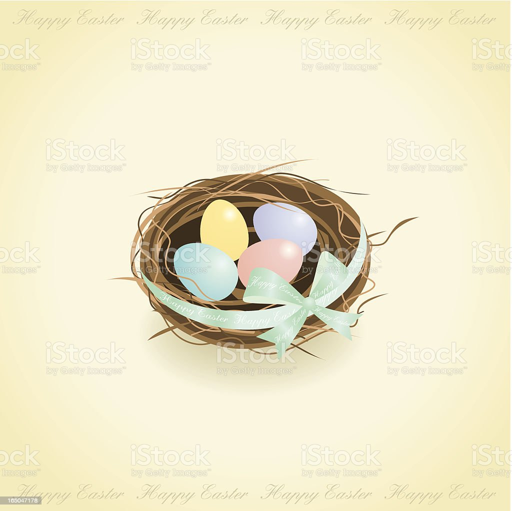 Easter eggs in a bird nest. royalty-free stock vector art