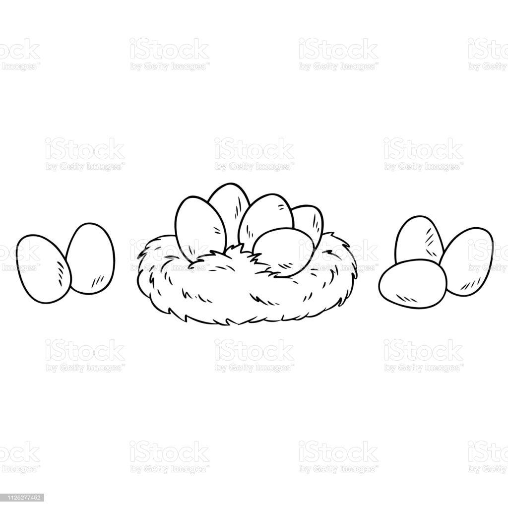 Ostereier Im Nest Des Vogels Cartoon Bild Doodle Zum Ausmalen