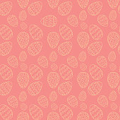 Easter eggs in doodle style on a pink background, white outline pattern, vector illustration for design and decoration, wrapping paper, fabrics