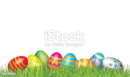 istock Easter eggs in green grass. Happy easter vector Illustration background 667495950