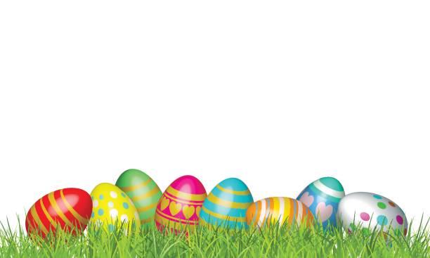 녹색 잔디에 부활절 달걀입니다. 행복 한 부활절 벡터 일러스트 배경 - 부활절 달걀 stock illustrations
