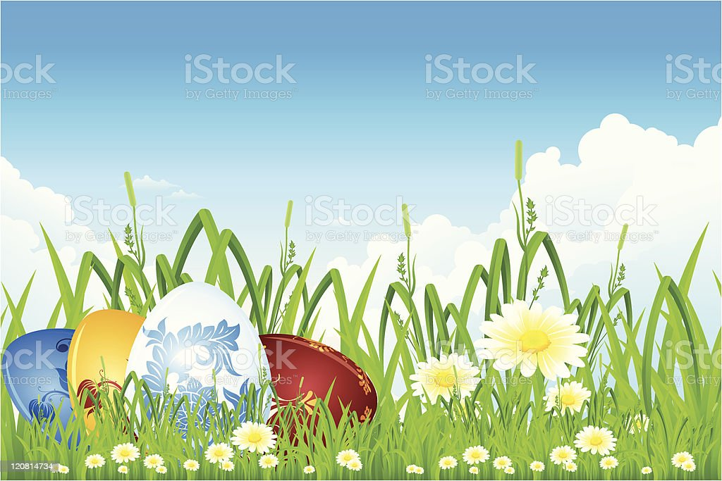 Easter eggs in the grass royalty-free stock vector art