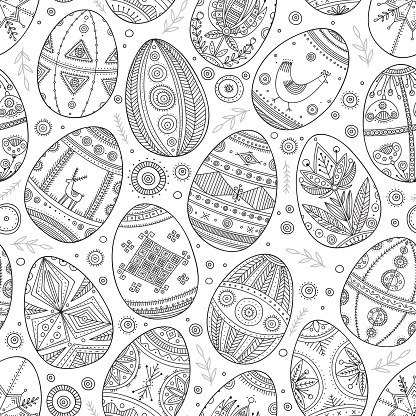 Easter eggs in Ukrainian traditional style seamless pattern.