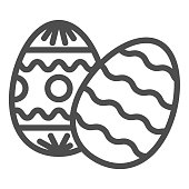 Easter eggs line icon. Two traditional egg gift wavy pattern and circles, lines pattern outline style pictogram on white background. Easter signs for mobile concept and web design. Vector graphics