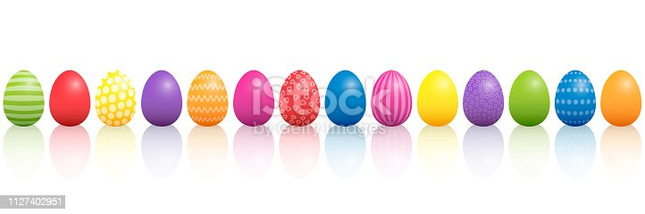 Easter eggs. Lined up colorful mixture with different patterns. Three-dimensional isolated vector illustration on white background.