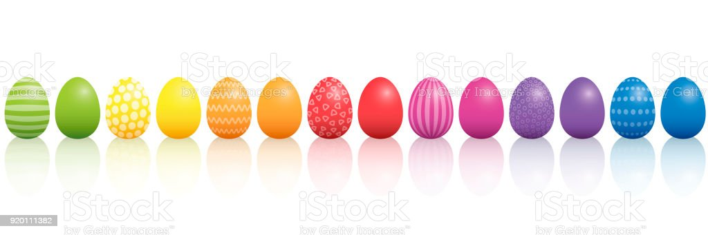 Easter eggs. Lined up with different colors and patterns. Rainbow colored three-dimensional isolated vector illustration on white background. vector art illustration