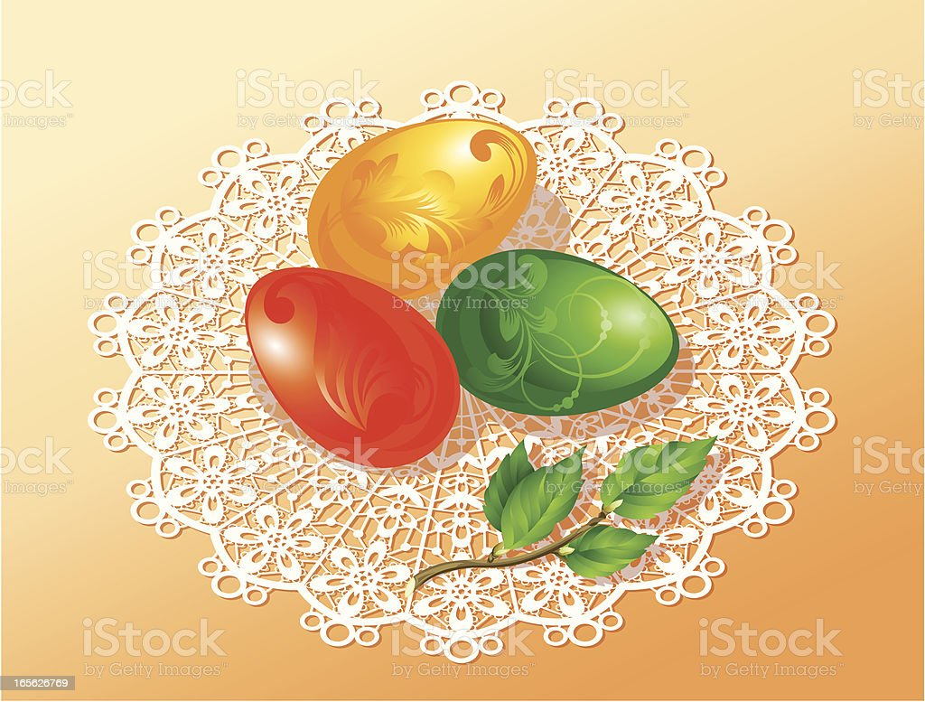 Easter eggs on a serviette royalty-free stock vector art