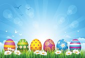 Decorated Easter Eggs on grass against a blue sky