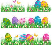 Easter Eggs on green grass. Vector illustration