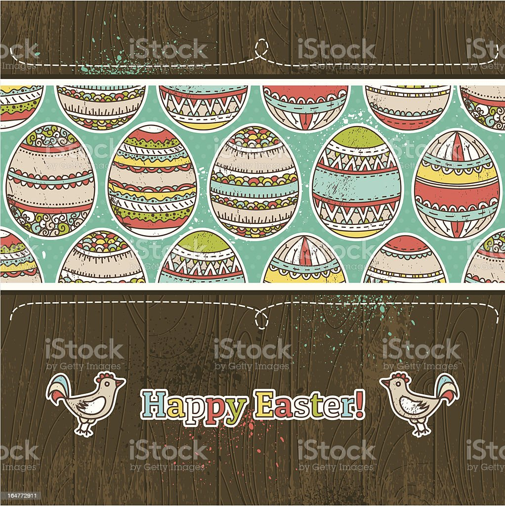 easter eggs on grunge  wooden background royalty-free stock vector art