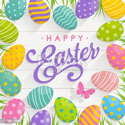 istock Easter Eggs on Wood background with text Happy Easter 1126674538