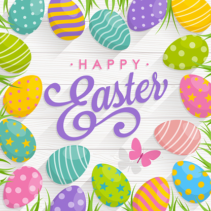 Easter Eggs on Wood background with text Happy Easter
