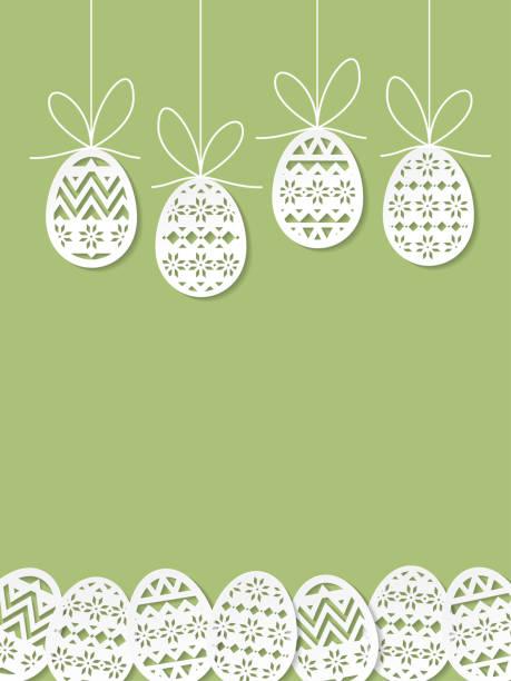 녹색 바탕에 부활절 달걀 종이 컷 아트 - 부활절 달걀 stock illustrations