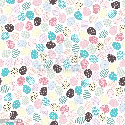 istock Easter eggs seamless pattern. Holiday repeatable background - delicate design. Vector illustration 1303589815