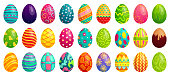 Easter eggs. Spring colorful chocolate egg, cute colored patterns and happy easter decoration. Traditional religion holyday ornament eggs. Cartoon vector isolated icons set