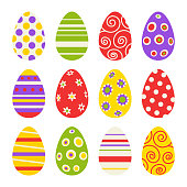 Colorful easter eggs isolated on a white background.