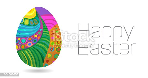 Easter Eggs with Abstract Landscape or Pattern