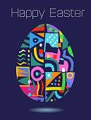 Patterned Easter Egg Greeting flat style, Easter, Spring, Grass, celebration, greeting, typography, lights, festival, public celebratory, egg, new life, beginning,