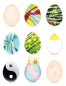 Vector illustration of silly and funny Easter eggs.