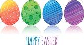 Easter eggs watercolor. Eps-10 file. Hi-res jpg included.