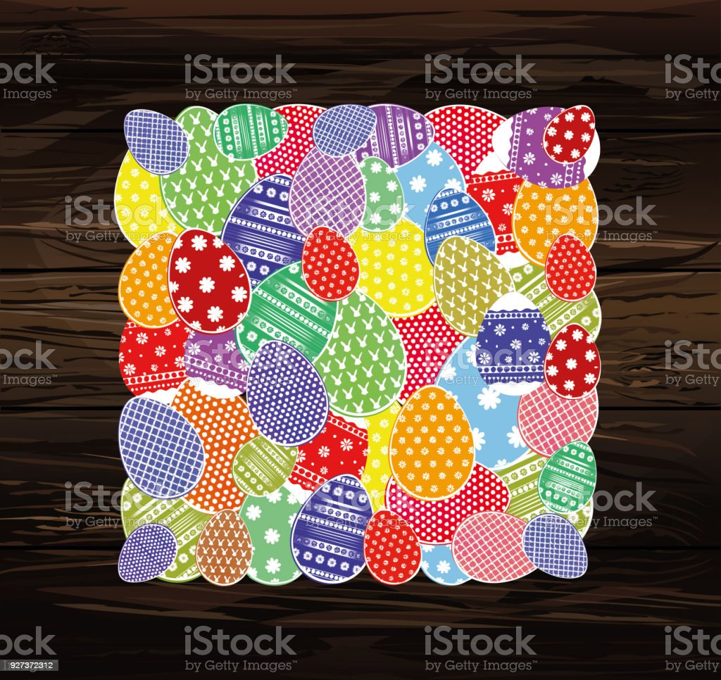 Easter eggs with a pattern in the shape of an oval. Greeting card for the holiday. Free space for text. Vector on wooden background - Royalty-free April stock vector
