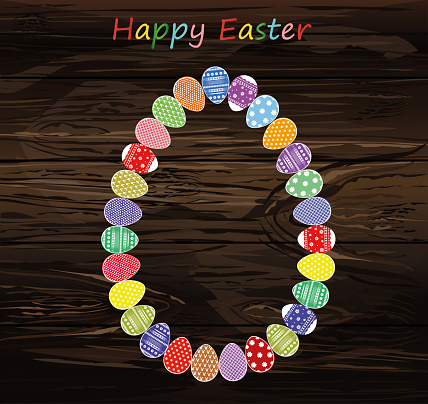 Easter Eggs With A Pattern In The Shape Of An Oval Greeting Card For The Holiday Free Space For Text Vector On Wooden Background Stock Illustration - Download Image Now