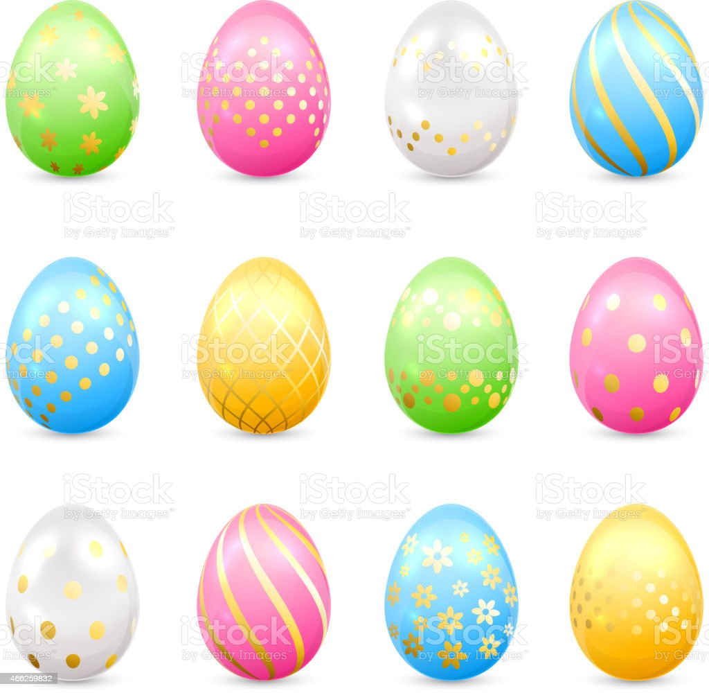 Easter eggs with decorative patterns vector art illustration