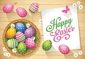 Easter greeting card with coloured eggs, butterfly, daisy and basket on wood background. High angle view.