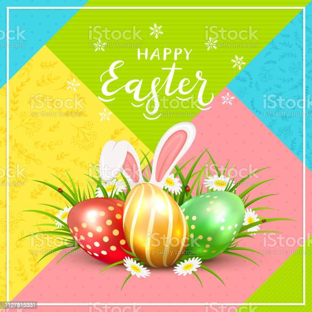 Easter eggs with rabbit ears in grass on colorful background vector id1127815331?b=1&k=6&m=1127815331&s=612x612&h=kdypy4qznhmjs2airsnhfodo4afko1akxqtnnbokmk8=