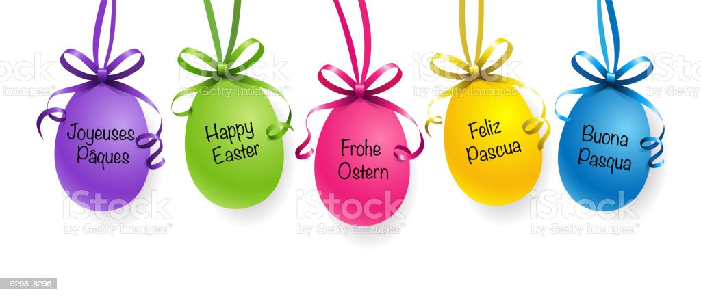 Easter eggs with ribbon and easter greetings in different languages easter eggs with ribbon and easter greetings in different languages royalty free easter eggs m4hsunfo
