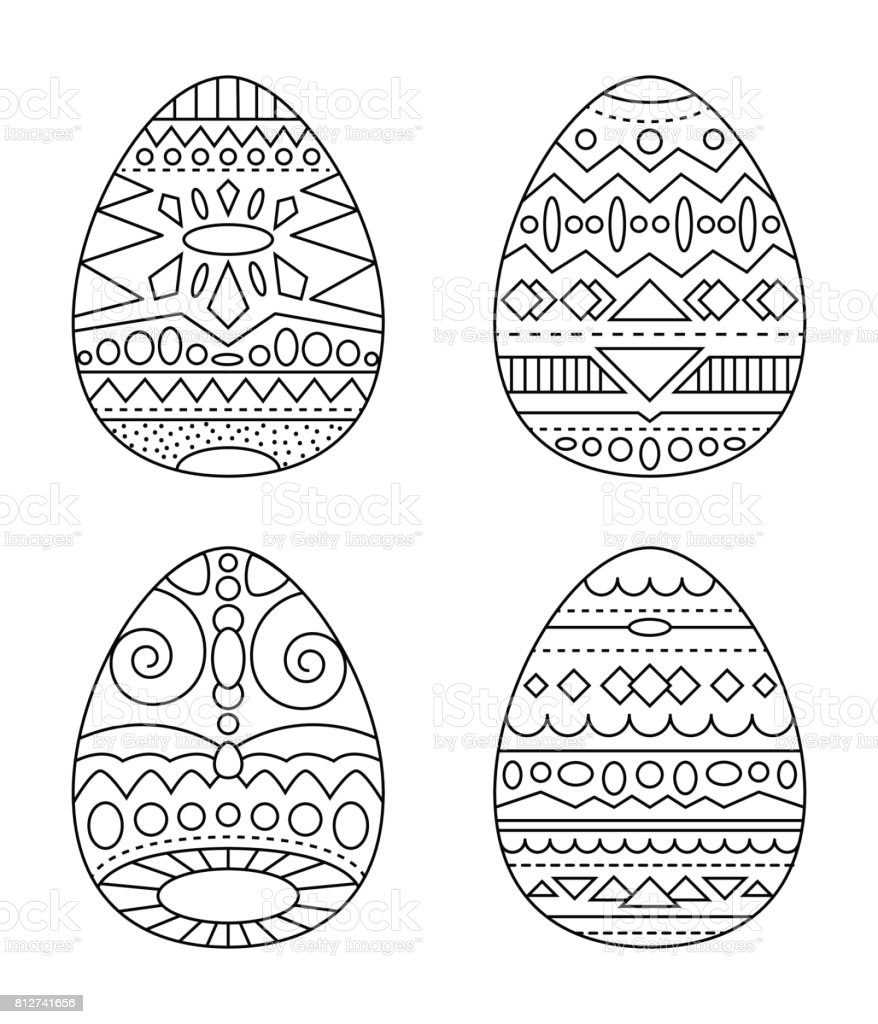 Easter Eggs With Tribal Ornament Vector Coloring Page Black And