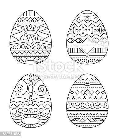 istock Huevos de Pascua con vector ornamento tribales página para ...